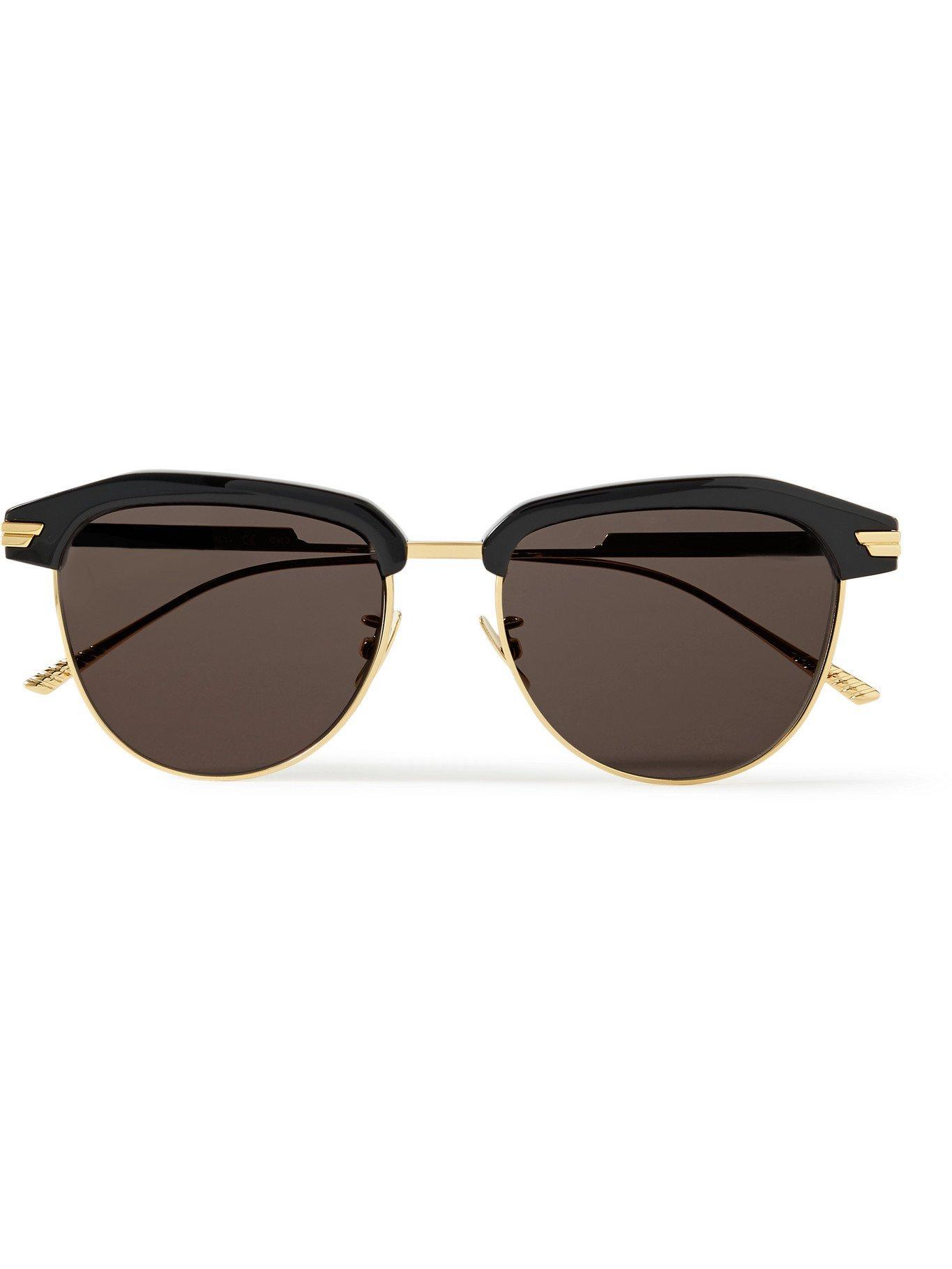 Photo: BOTTEGA VENETA - D-Frame Acetate and Gold-Tone Sunglasses - Black
