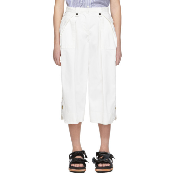 Sacai White Cropped Trousers