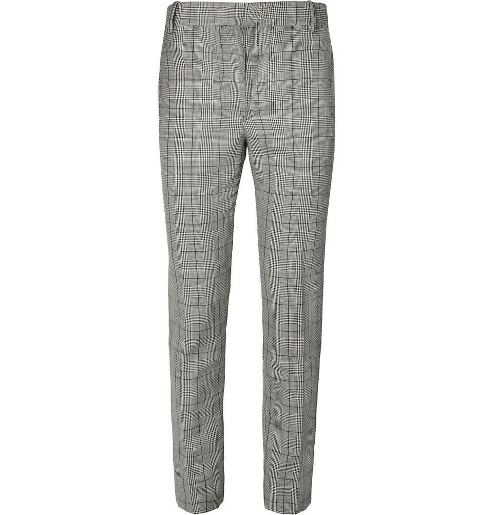 Photo: Alexander McQueen - Prince of Wales Checked Wool and Mohair-Blend Suit Trousers - Gray