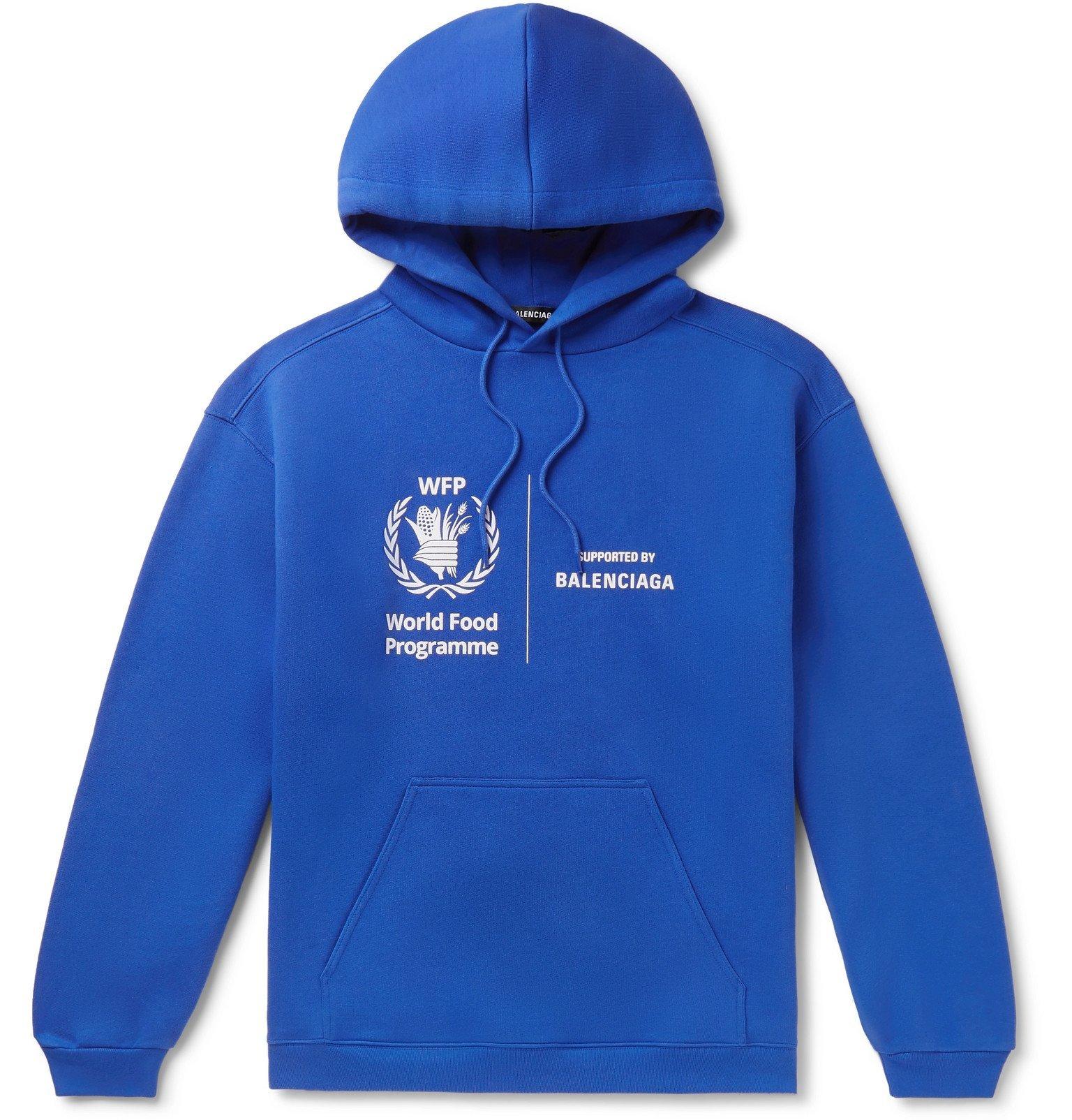 Photo: Balenciaga - World Food Programme Logo-Print Fleece-Back Cotton-Jersey Hoodie - Blue