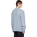 Raf Simons Blue Aran Crewneck Sweater
