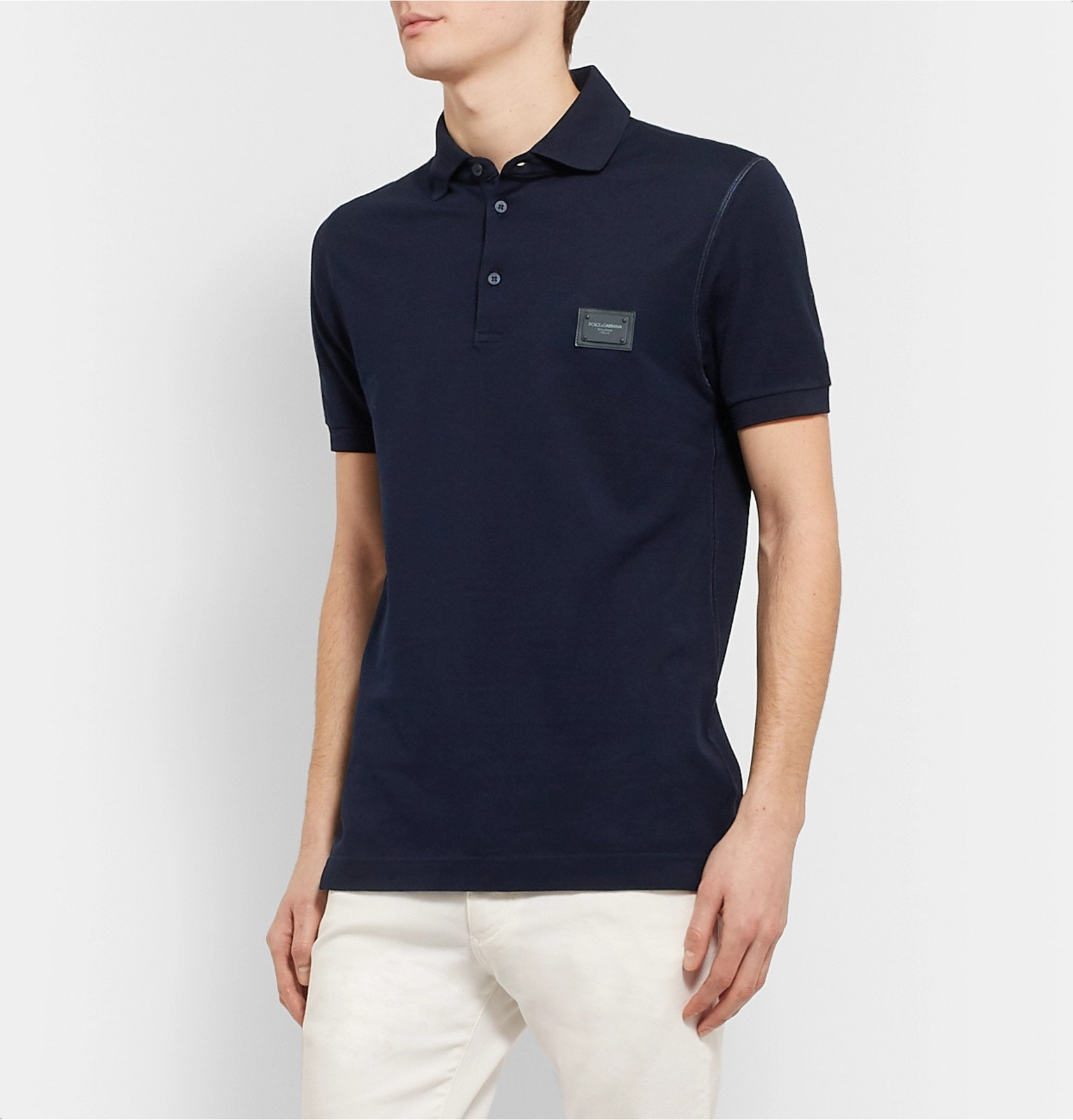 Dolce & Gabbana - Slim-Fit Logo-Appliquéd Cotton-Piqué Polo Shirt - Blue
