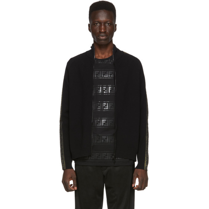 Fendi Black and Gold Forever Fendi Zip Up Sweater