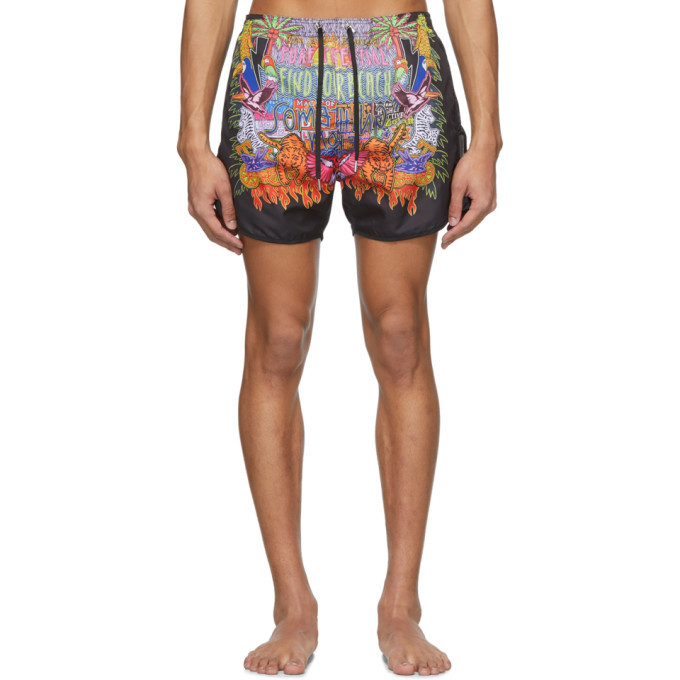 Photo: Neil Barrett Multicolor Art Collage Swim Shorts