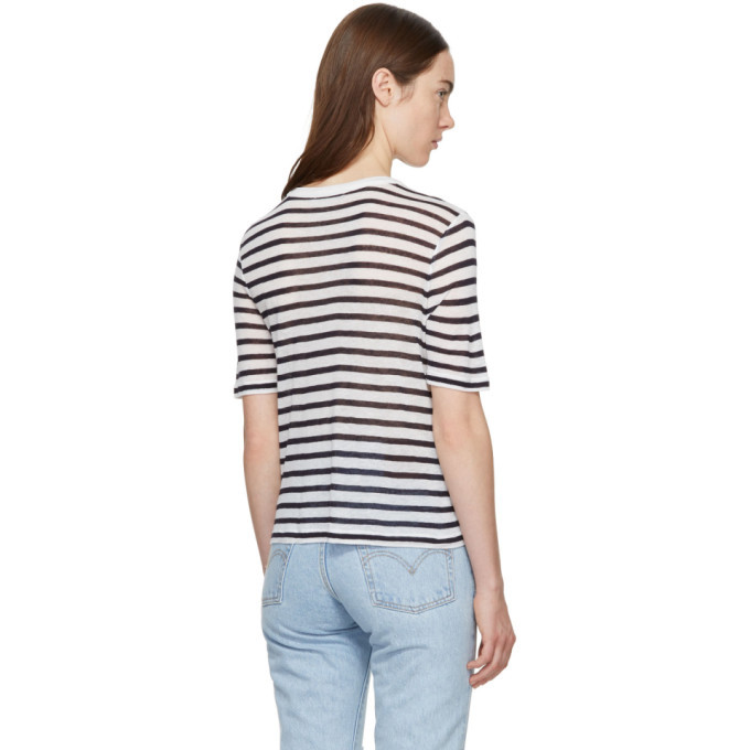 alexanderwang.t Ivory and Navy Striped Cropped T-Shirt