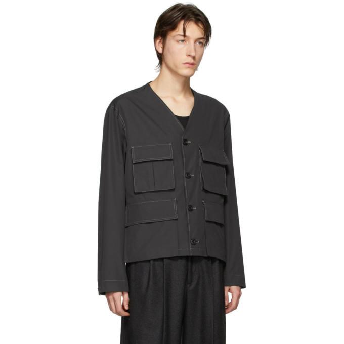 Lemaire Black Poplin V-Neck Jacket