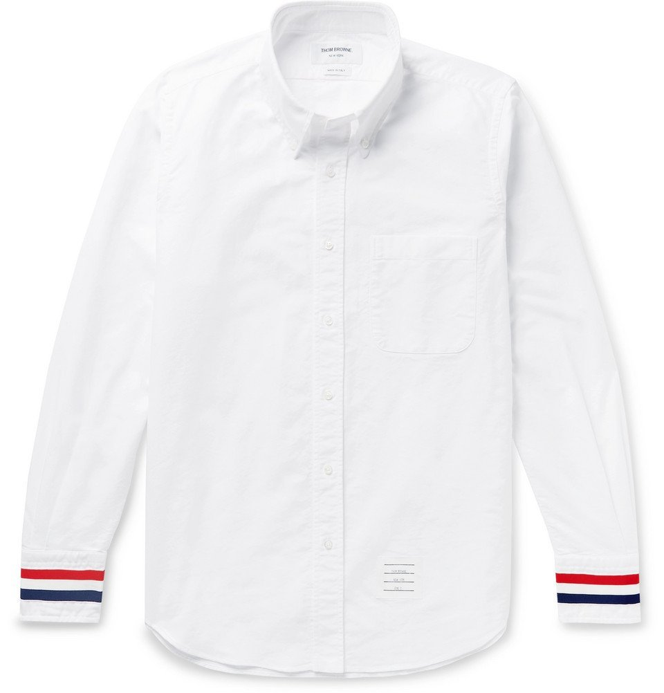 Photo: Thom Browne - Button-Down Collar Grosgrain-Trimmed Cotton-Oxford Shirt - White