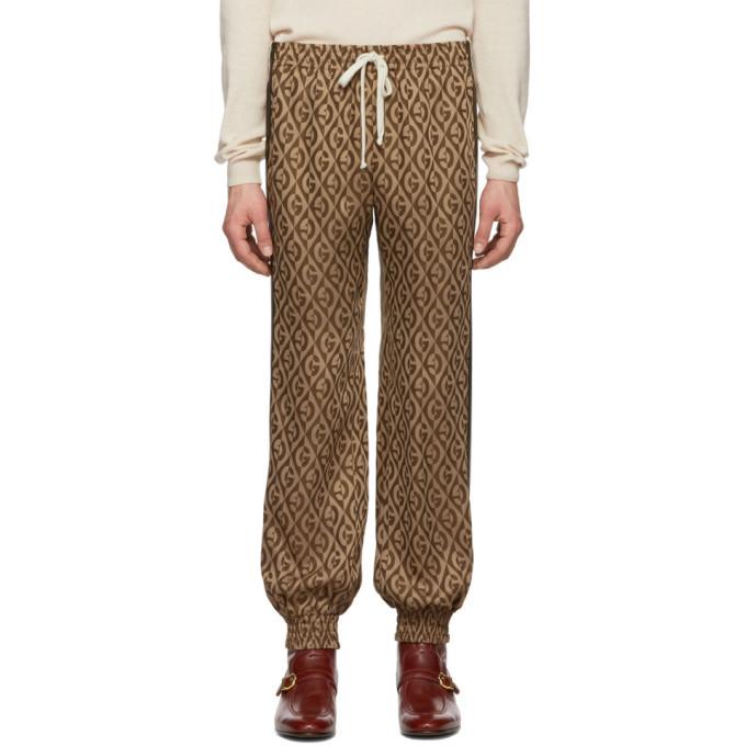 Photo: Gucci Brown Jacquard Gucci Rhombus Track Pants