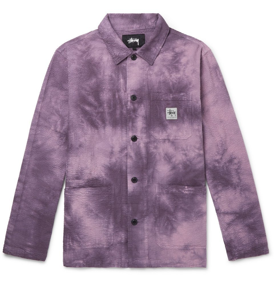 Photo: Stüssy - Tie-Dyed Cotton-Seersucker Chore Jacket - Purple
