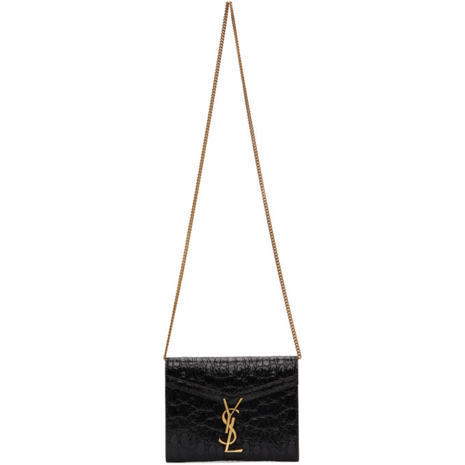 Photo: Saint Laurent Black Croc Cassandra Chain Wallet