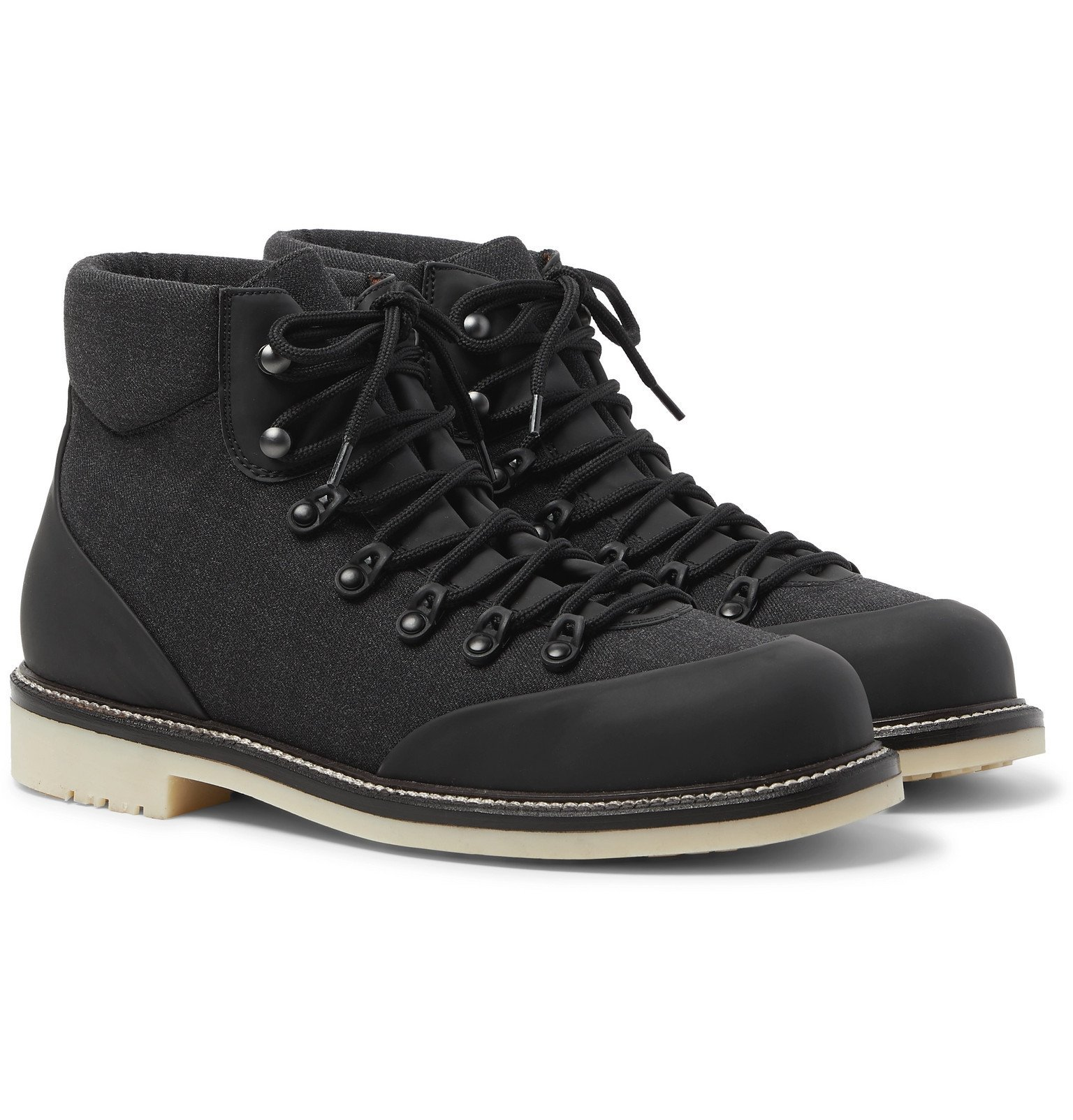 Photo: Loro Piana - Laax Active Storm System Leather-Trimmed Wool-Blend Hiking Boots - Gray