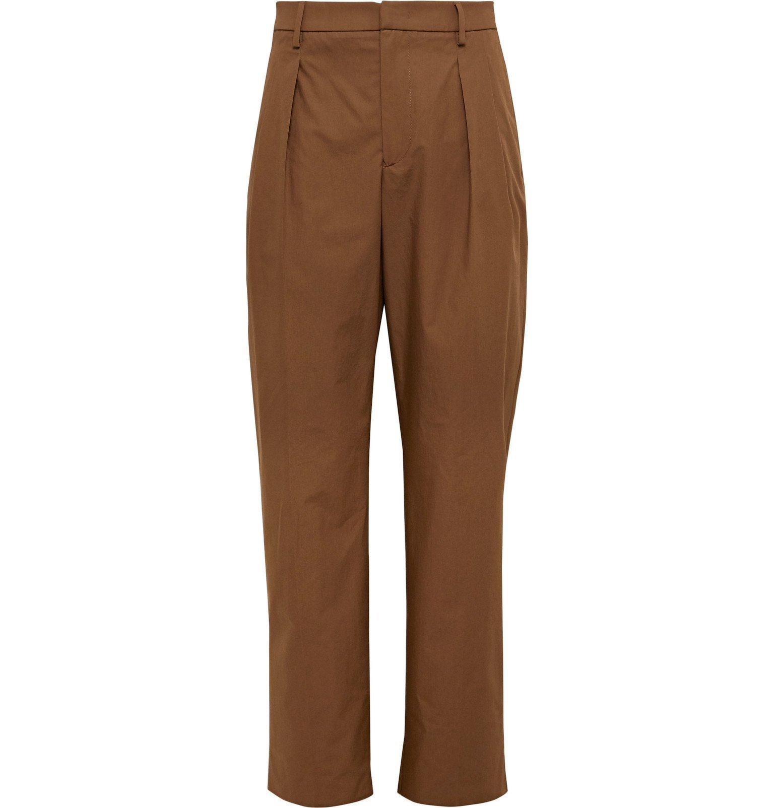 Photo: Valentino - Brown Pleated Cotton Trousers - Brown