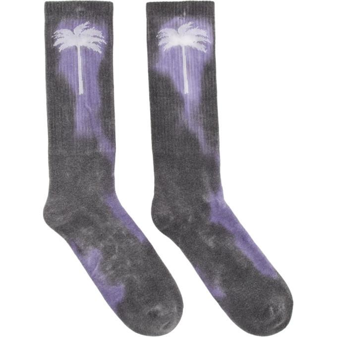 Photo: Palm Angels Purple and Grey Tie-Dye Palm Socks