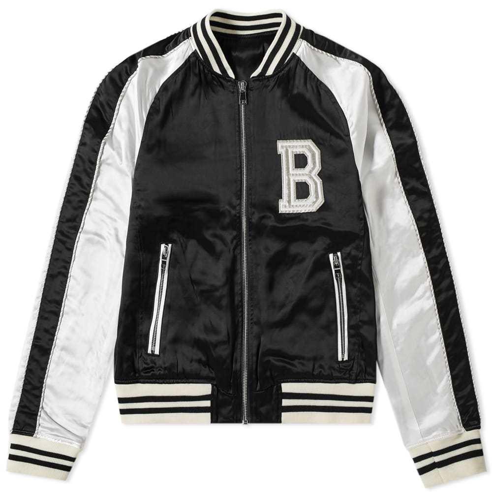 Photo: Balmain Logo Embroidered Varsity Jacket White & Black