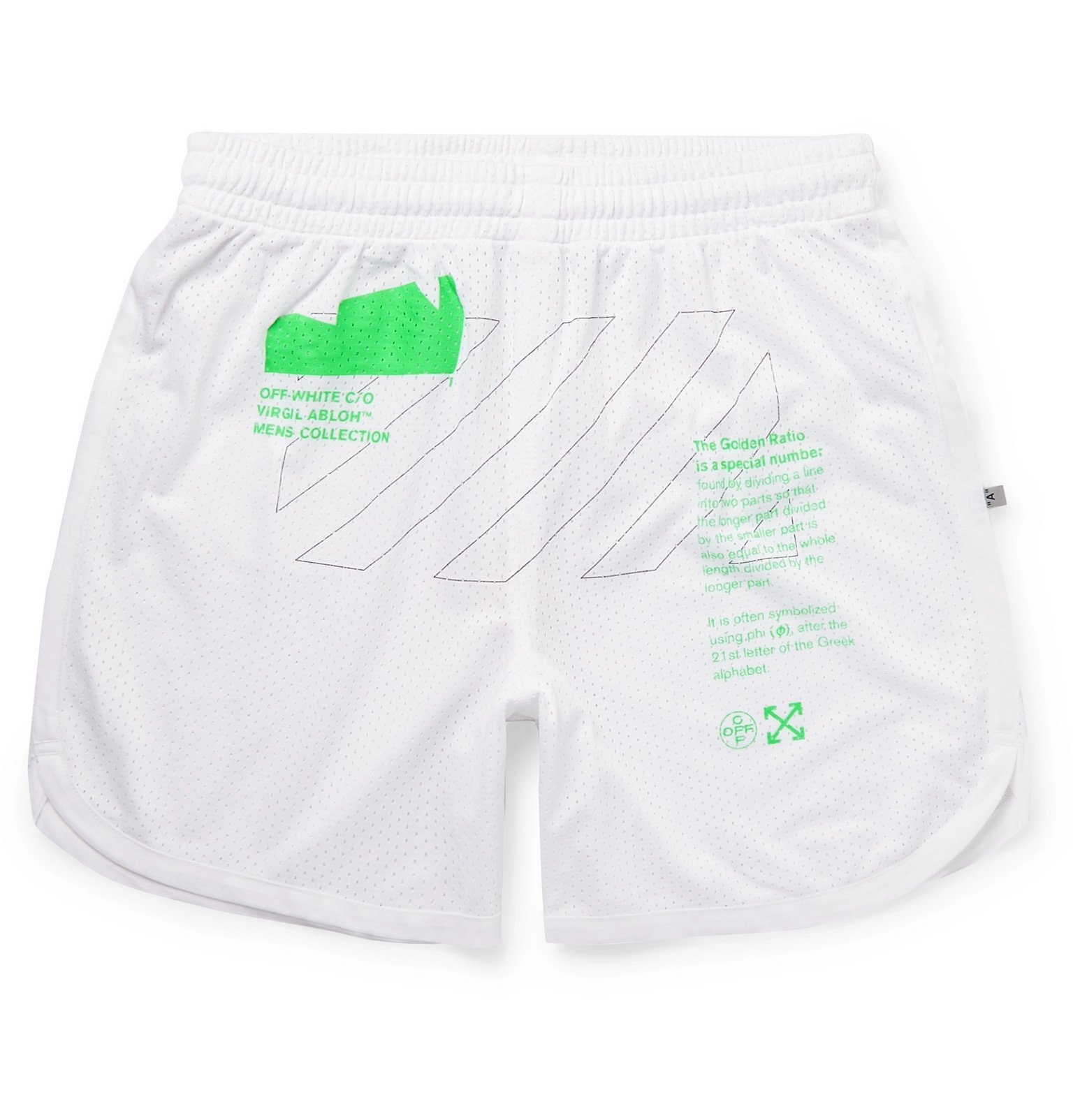 Photo: Off-White - Slim-Fit Printed Mesh Shorts - White