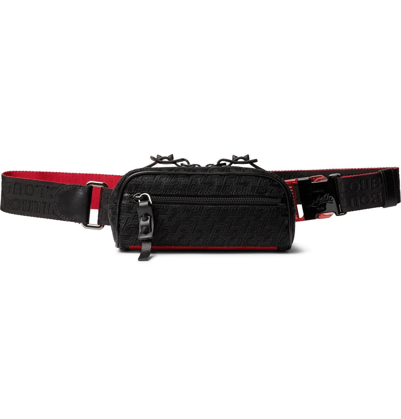 Photo: CHRISTIAN LOUBOUTIN - Blaster Leather-Trimmed Logo-Jacquard Belt Bag - Black