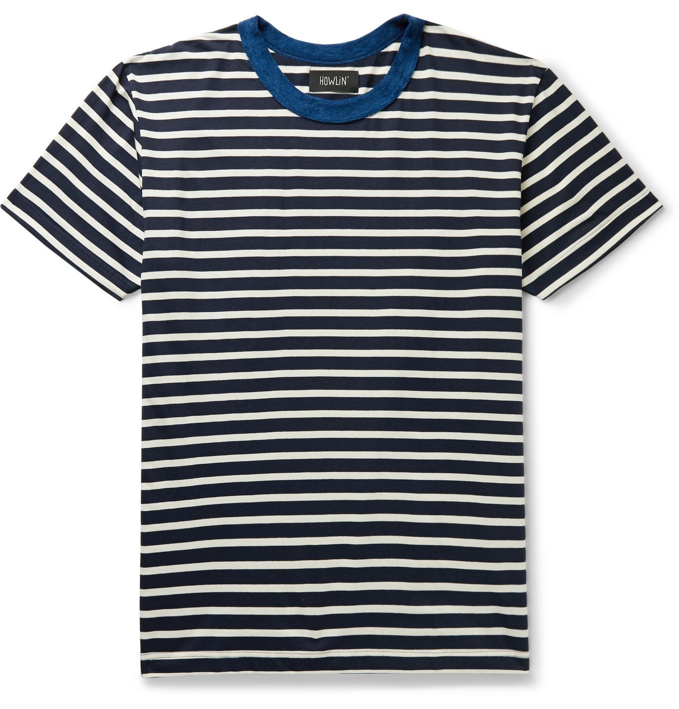 Photo: Howlin' - Terry-Trimmed Striped Cotton-Jersey T-Shirt - Blue