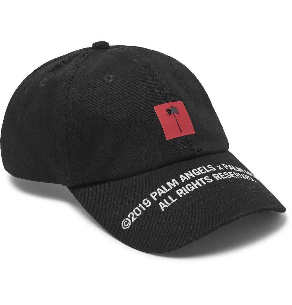 Photo: Palm Angels - Logo-Print Cotton-Twill Baseball Cap - Black