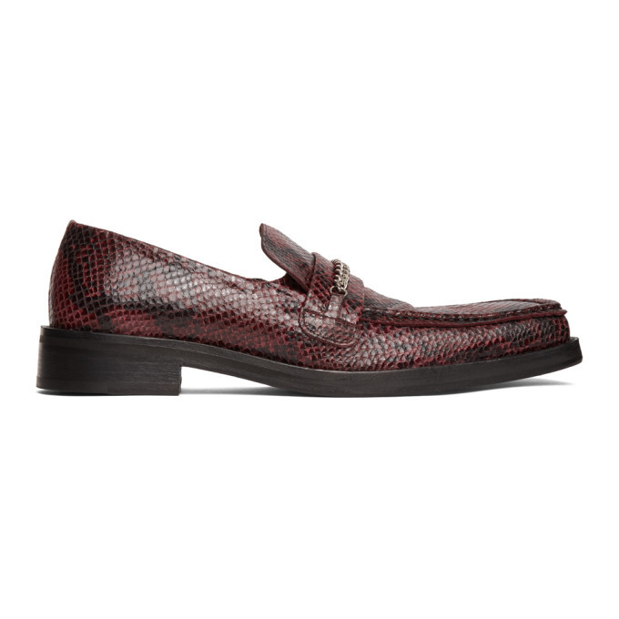 Photo: Martine Rose Red Embossed Square Toe Loafers