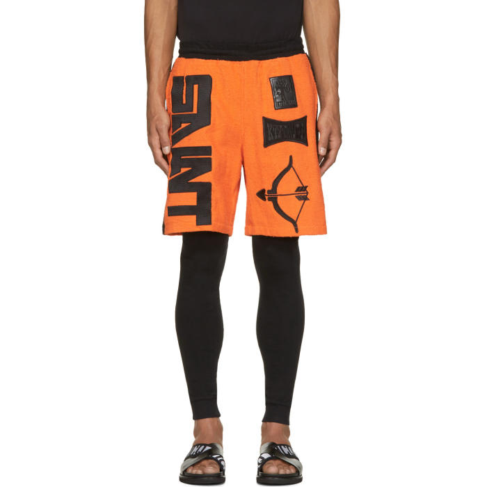 Photo: KTZ Orange and Black Terrycloth Arrow Shorts