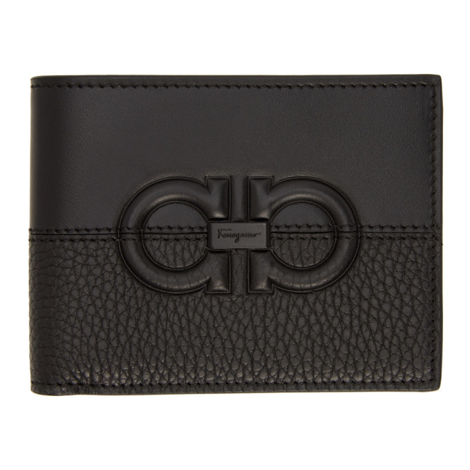 Photo: Salvatore Ferragamo Black Firenze Logo Bifold Wallet