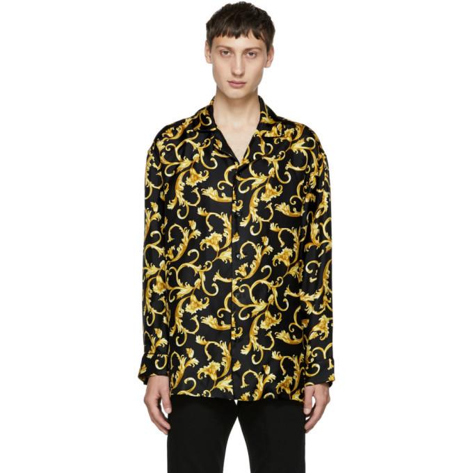 Photo: Versace Underwear Black and Gold Printed Pyjama Shirt
