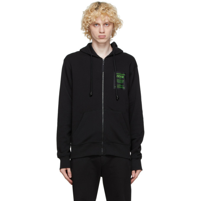 Photo: Versace Jeans Couture Black Warranty Label Zip-Up Hoodie