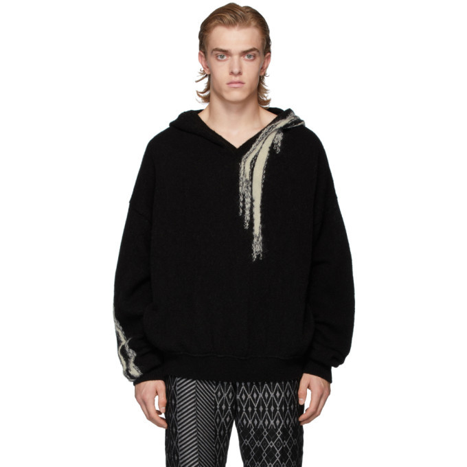 Photo: Ann Demeulemeester Black and White Wool Hoodie
