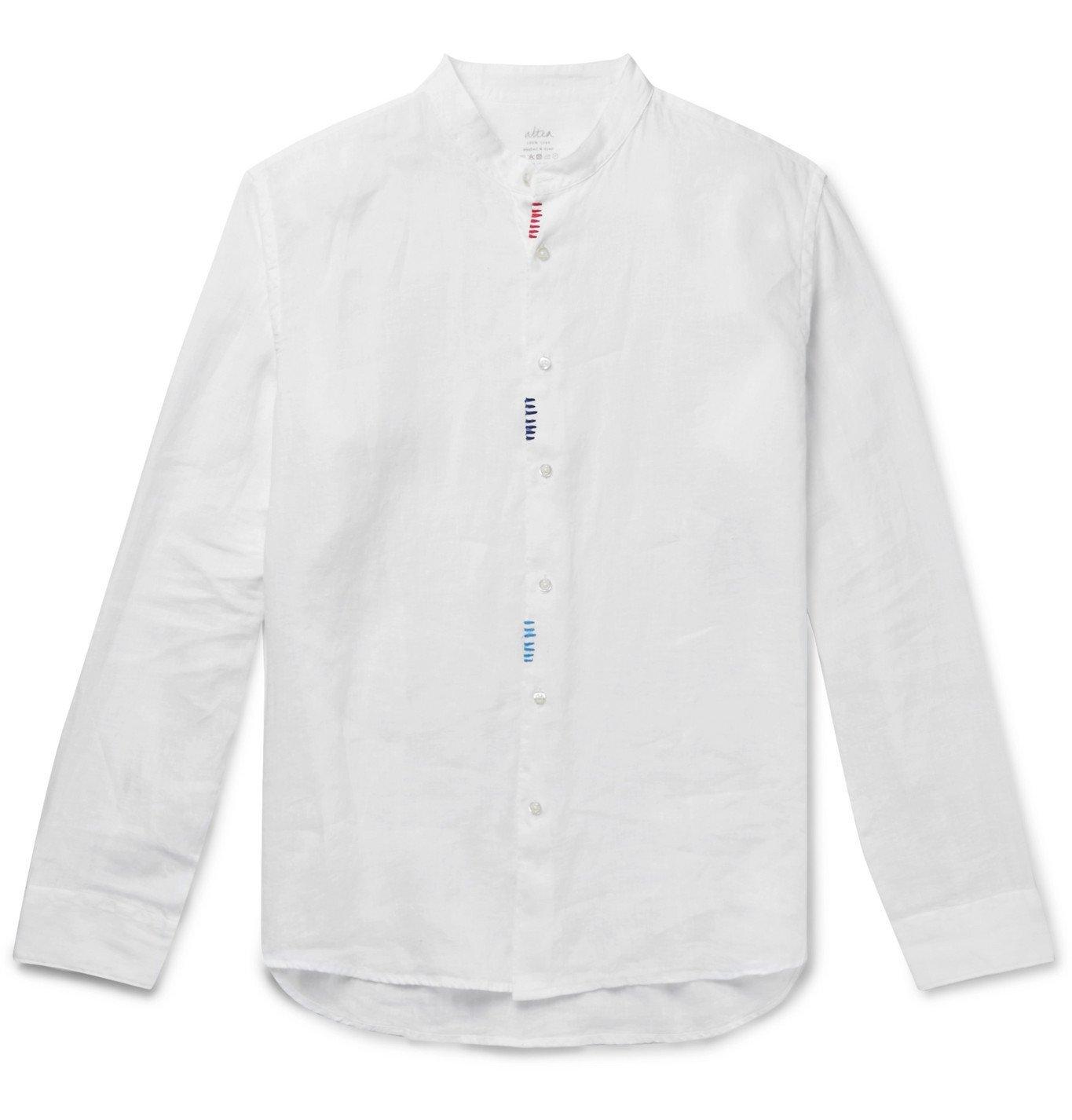 Photo: Altea - Slim-Fit Embroidered Grandad-Collar Linen Shirt - White