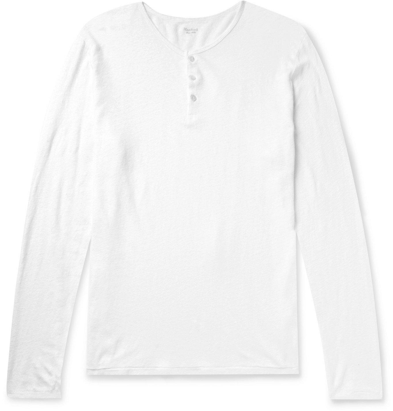 Photo: Hartford - Slub Linen Henley T-Shirt - White