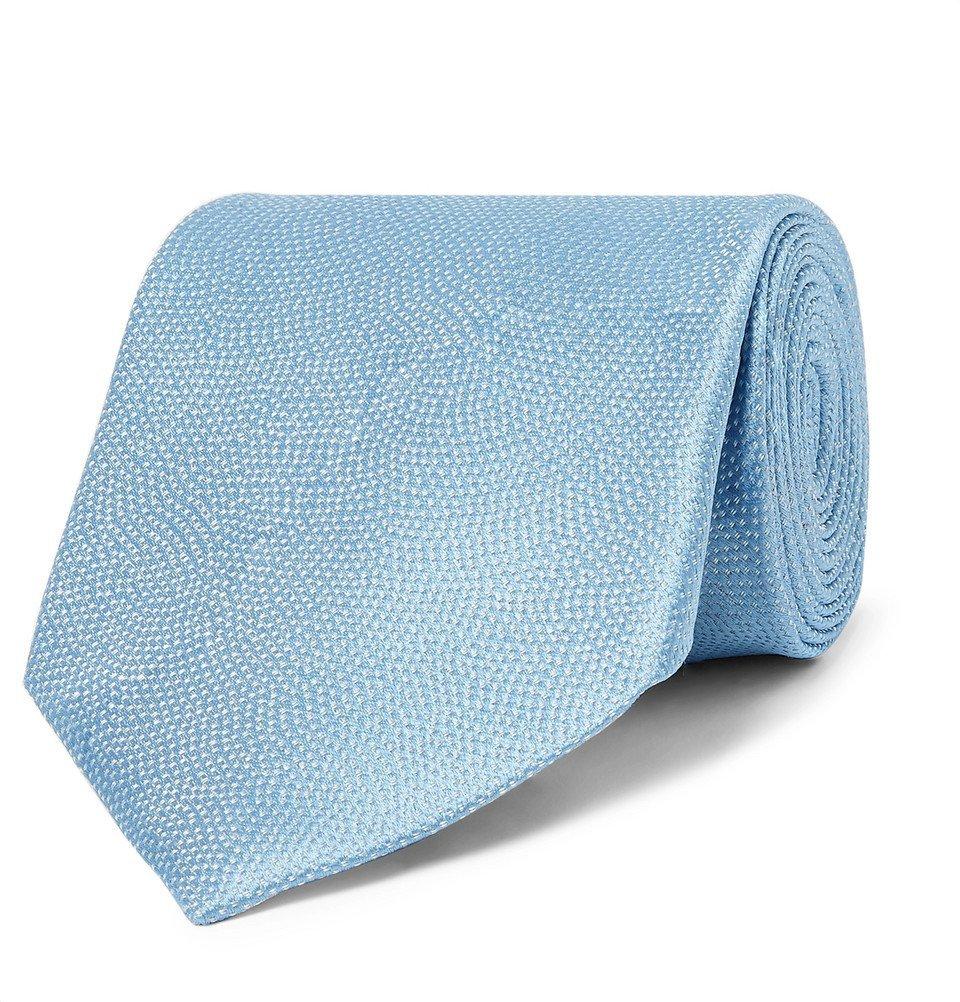 Giorgio Armani - 8cm Pin-Dot Woven Silk Tie - Men - Blue