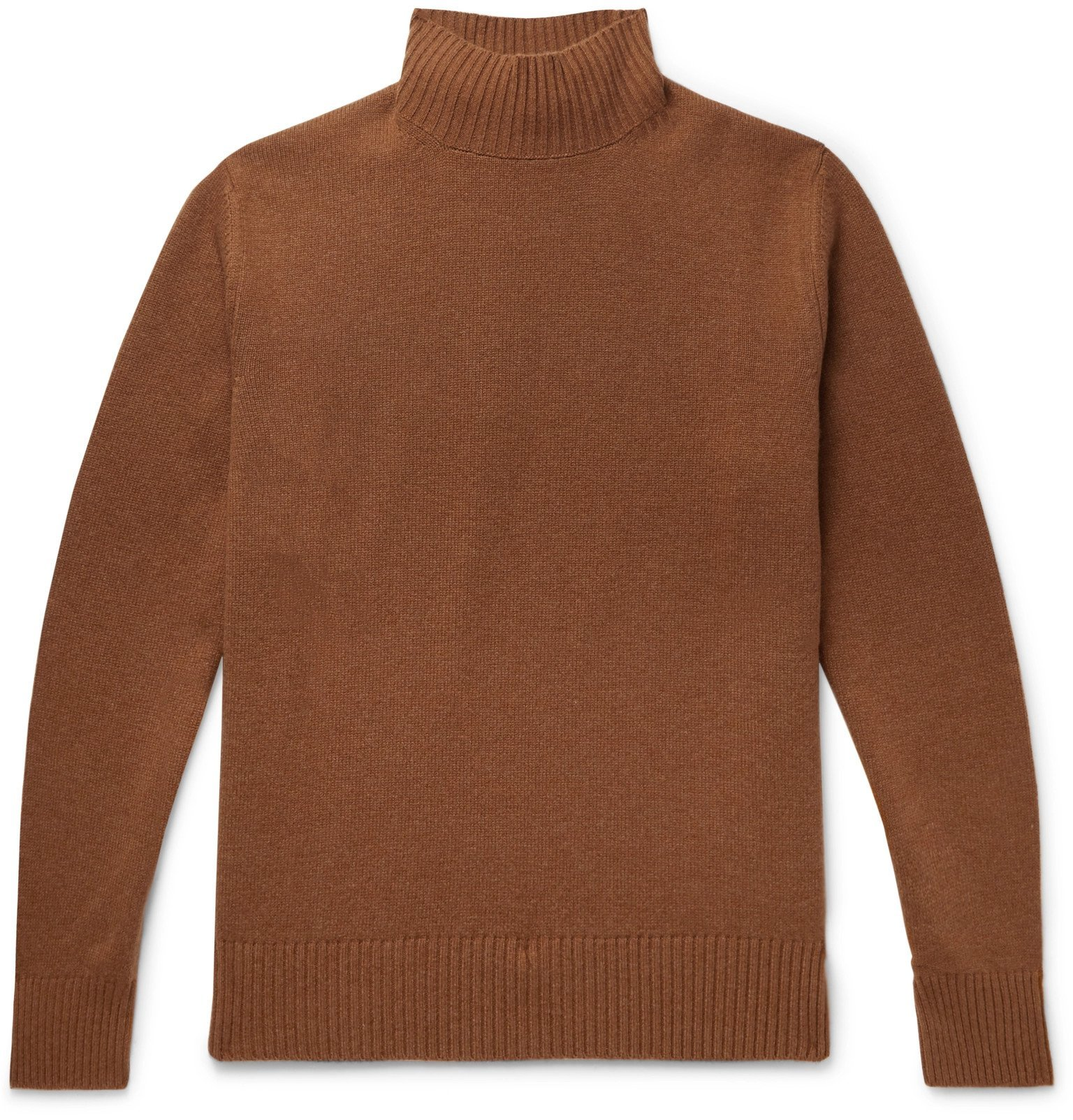Photo: Thom Sweeney - Wool and Cashmere-Blend Mock-Neck Sweater - Brown