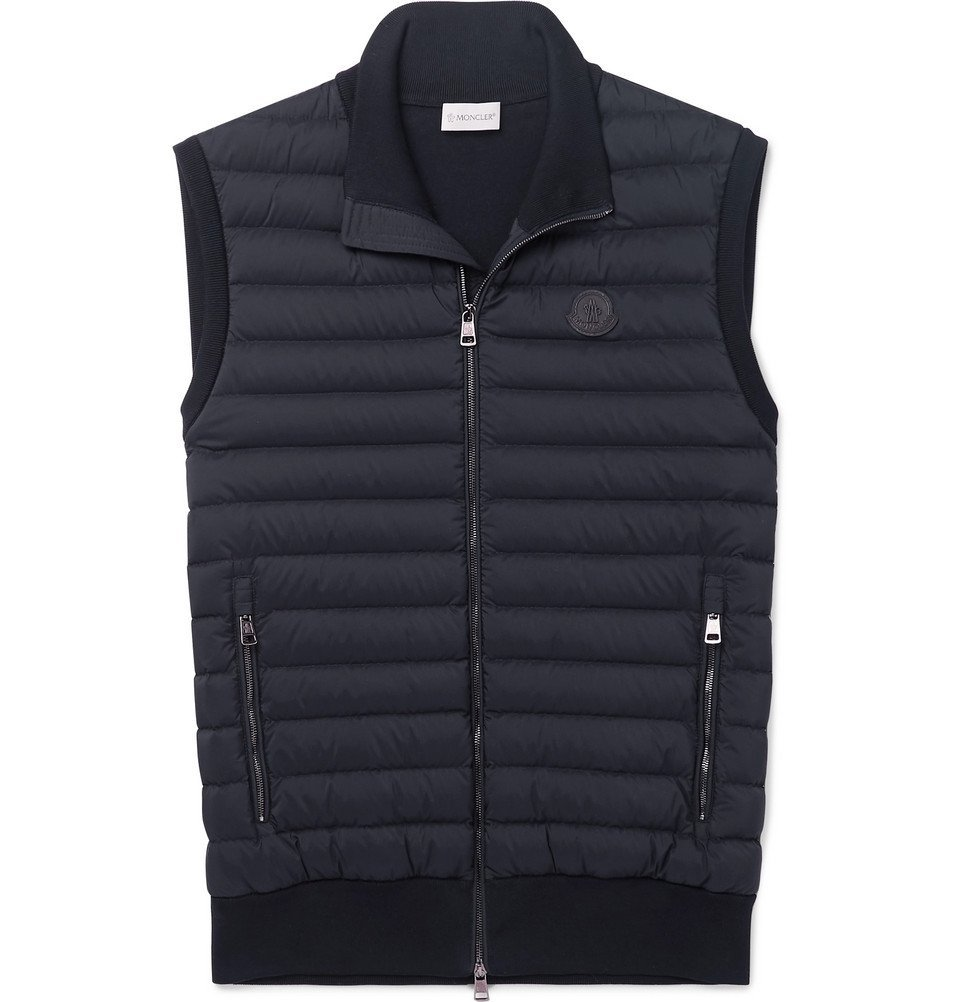 Photo: Moncler - Panelled Cotton-Blend Jersey and Quilted Shell Down Gilet - Men - Navy