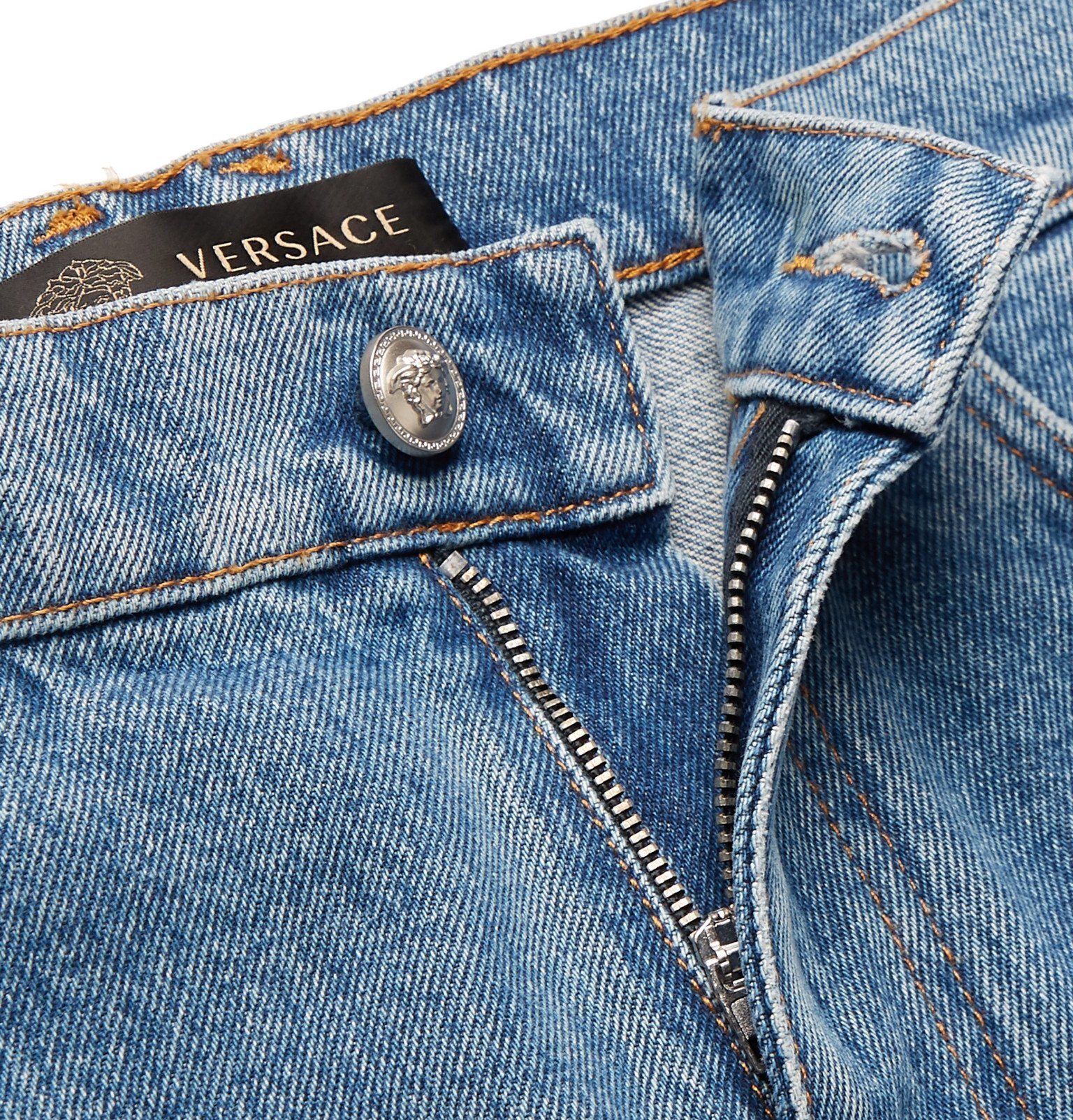 Versace - Finn Logo-Embroidered Jeans - Blue