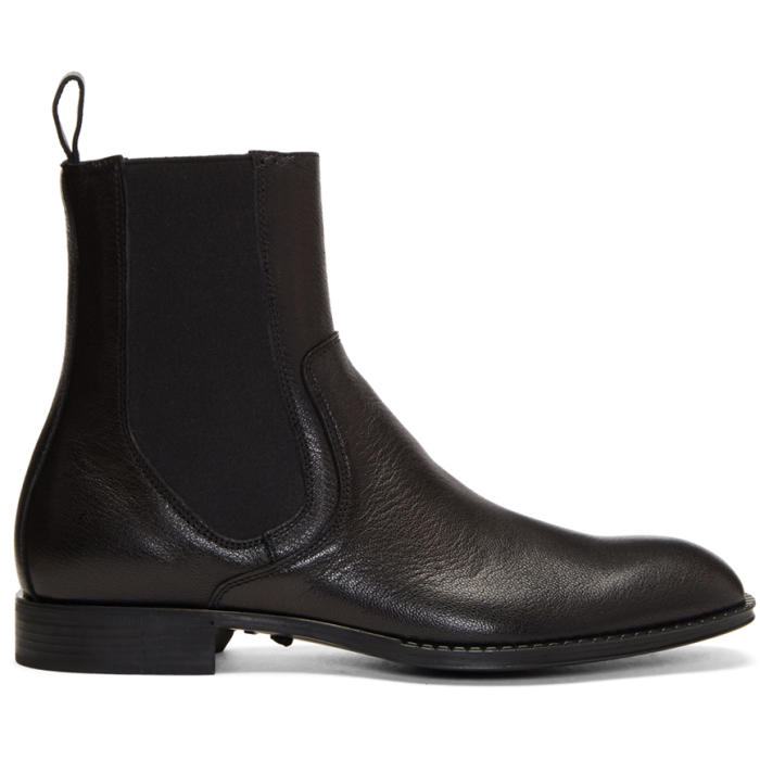 Photo: Versace Black Leather Chelsea Boots