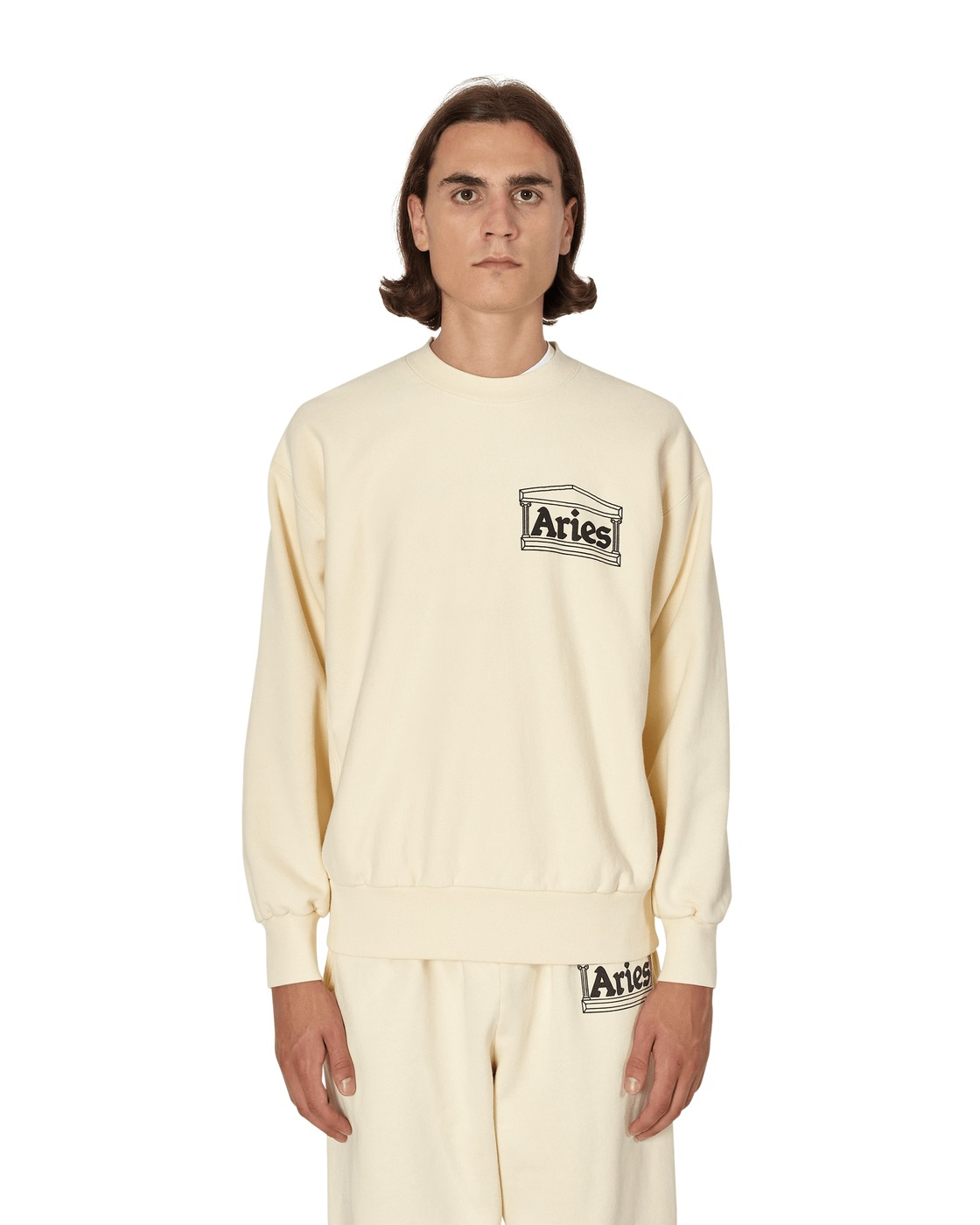 Aries Premium Temple Crewneck Sweatshirt Alabaster