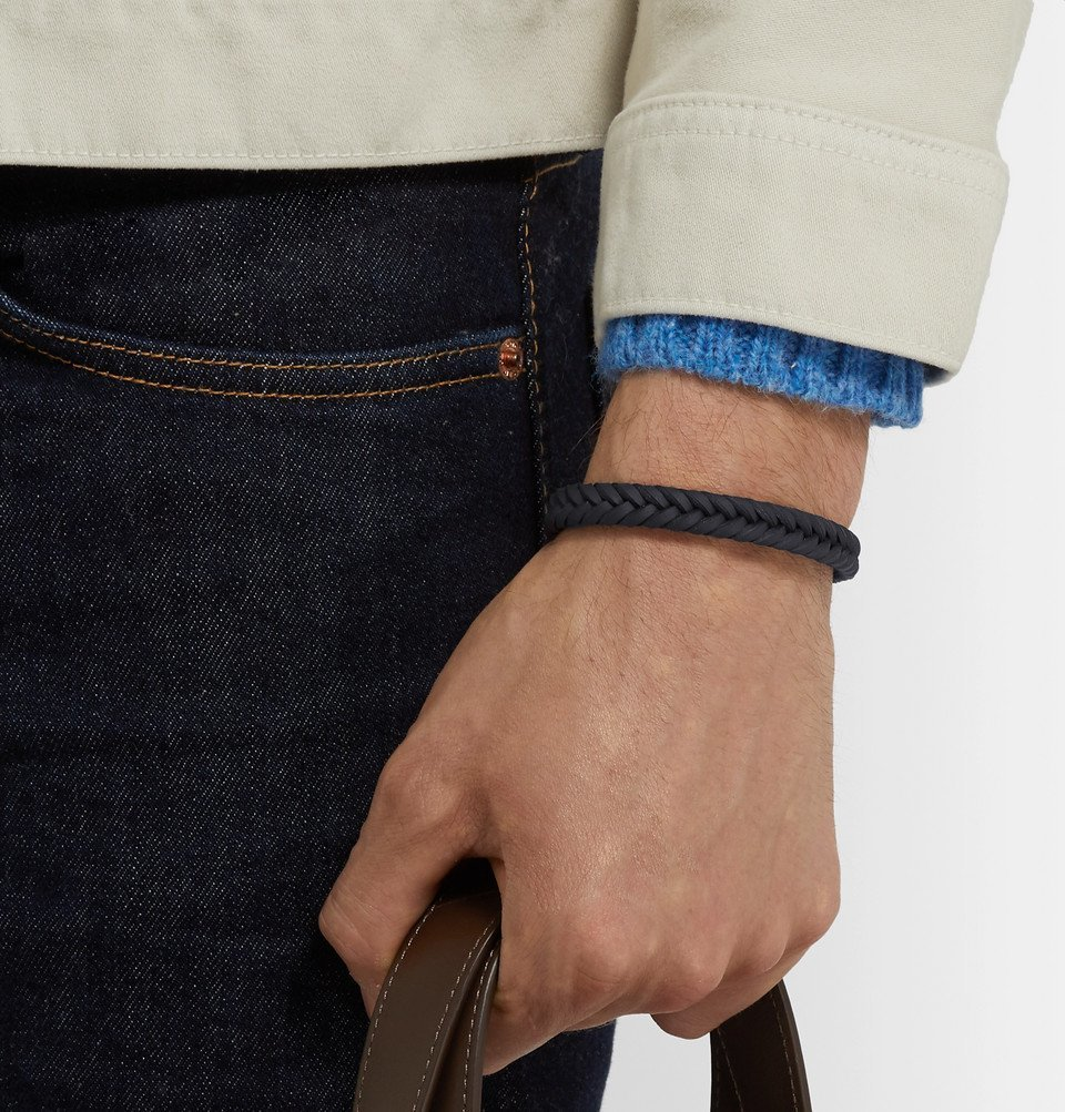 Tod's - Woven Leather and Silver-Tone Bracelet - Midnight blue