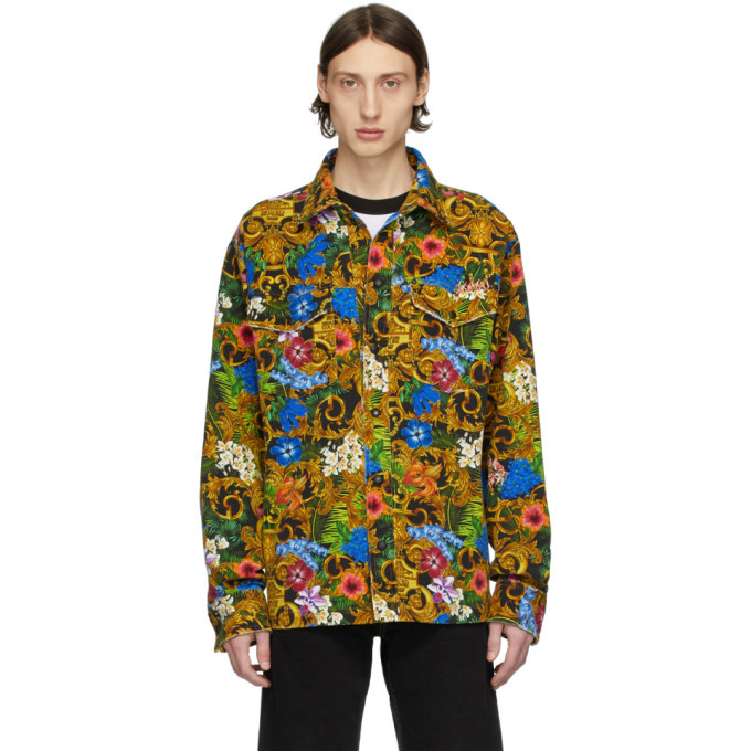 Photo: Versace Jeans Couture Multicolor Barocco Jungle Denim Jacket