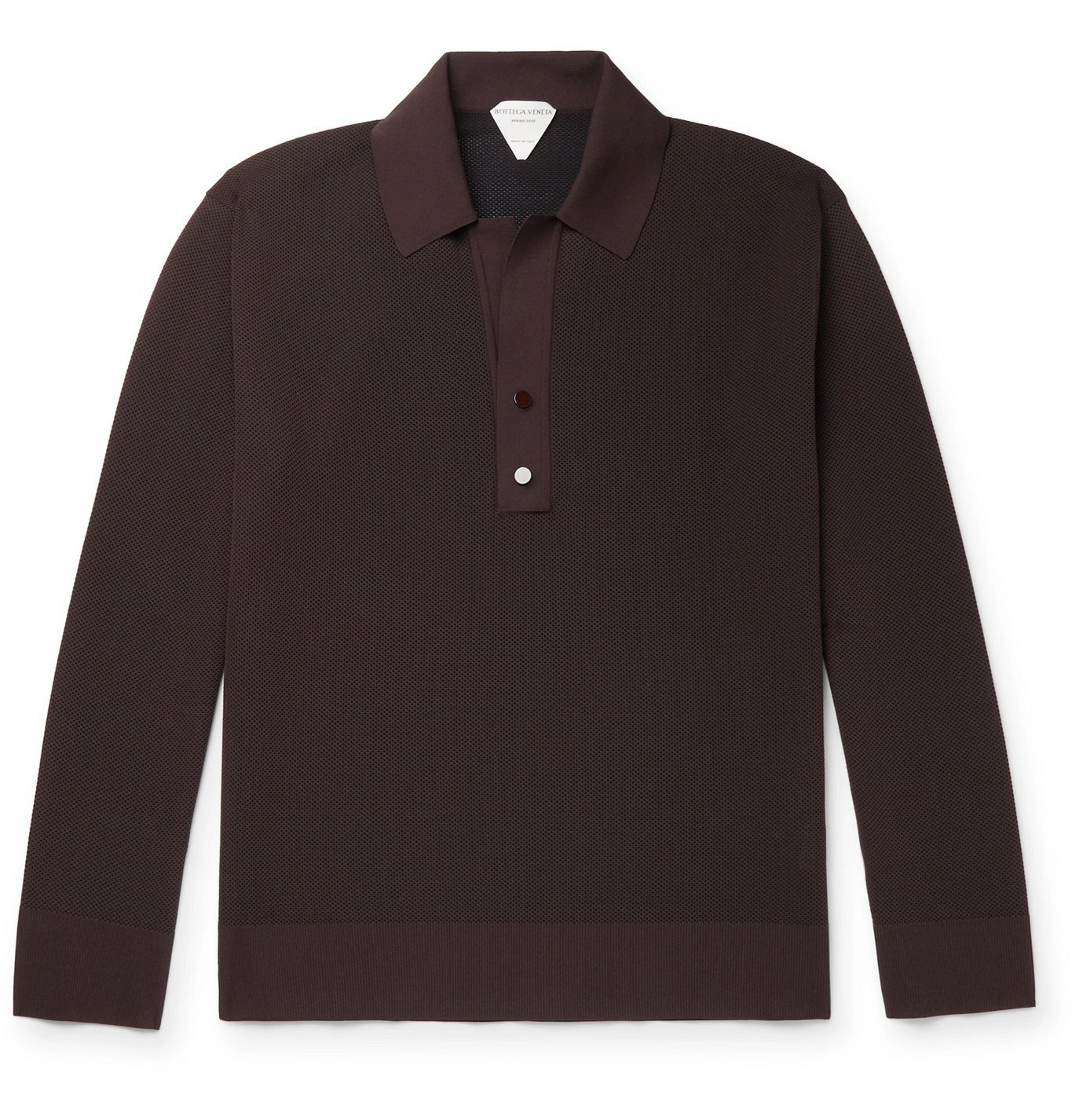 Photo: Bottega Veneta - Piqué Polo Shirt - Brown