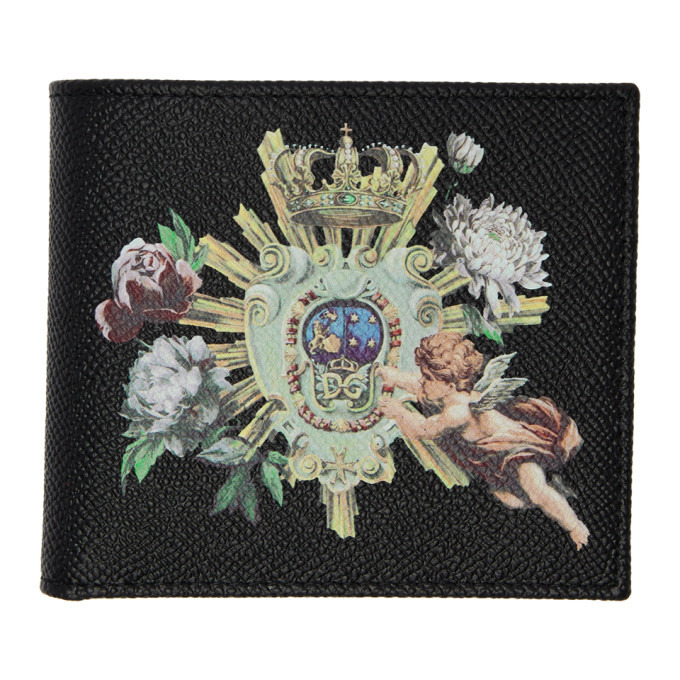 Photo: Dolce and Gabbana Black Crowns and Flowers Bifold Wallet