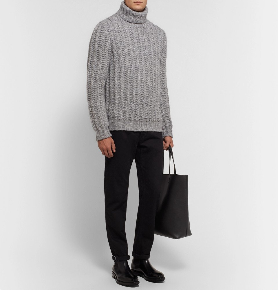 Tod's - Slim-Fit Mélange Alpaca-Blend Rollneck Sweater - Gray