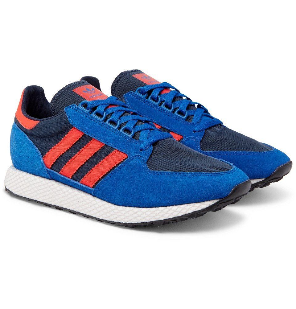 adidas Originals - Forest Grove Suede and Mesh Sneakers - Blue
