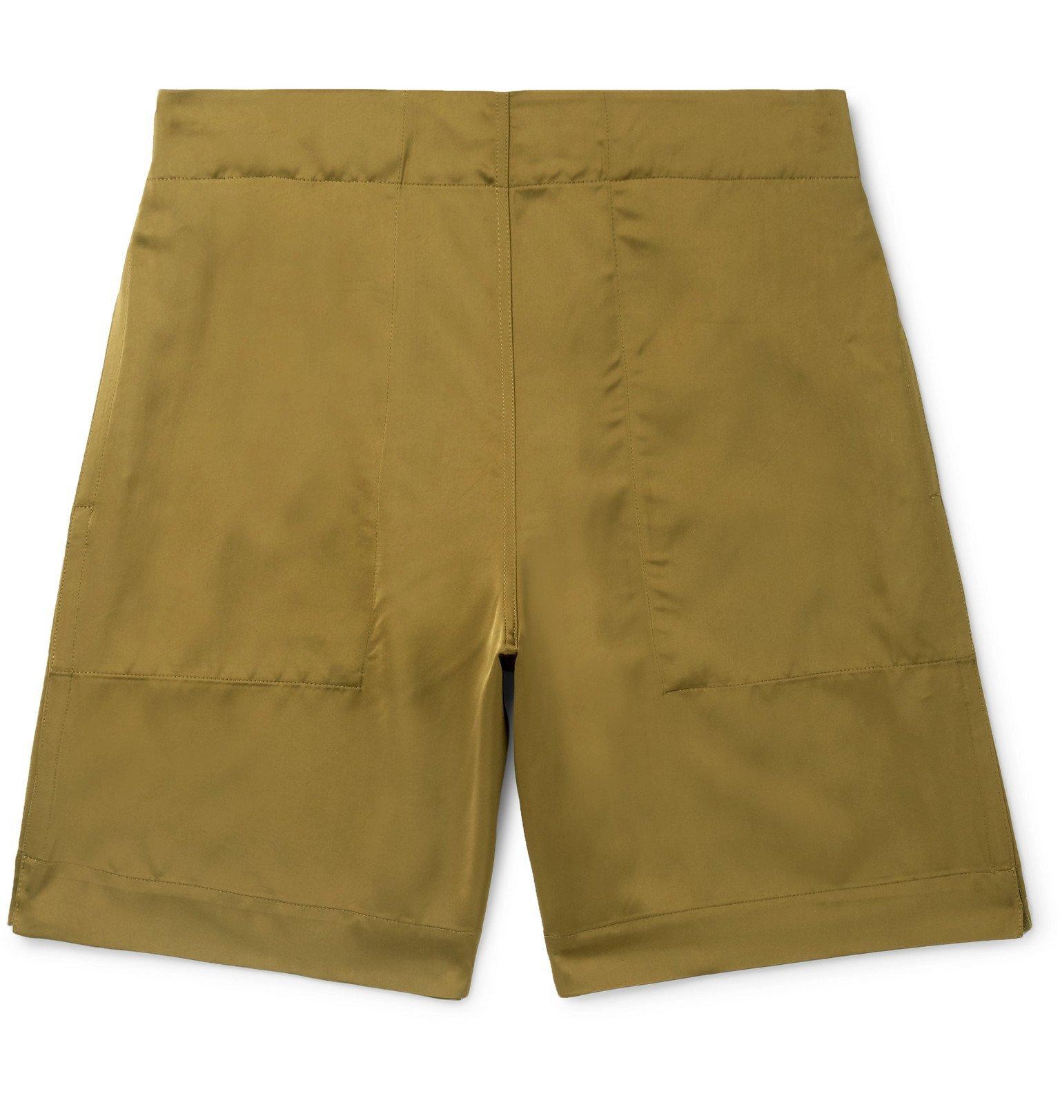 Photo: Deveaux - Wide-Leg Satin Shorts - Green
