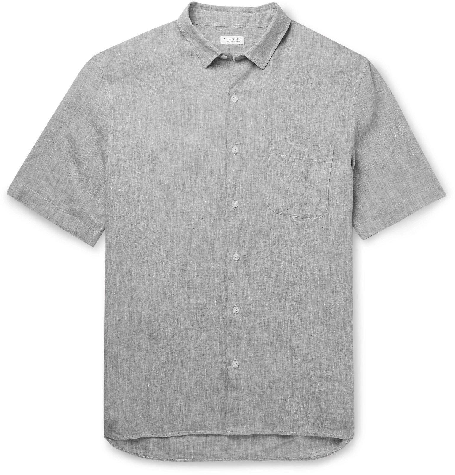 Sunspel - Checked Linen-Canvas Shirt - Gray