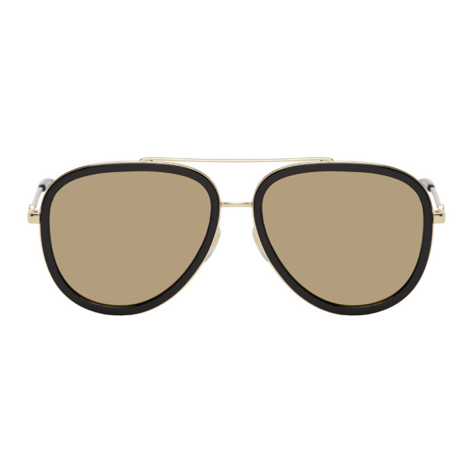 Photo: Gucci Black and Gold Aviator Sunglasses