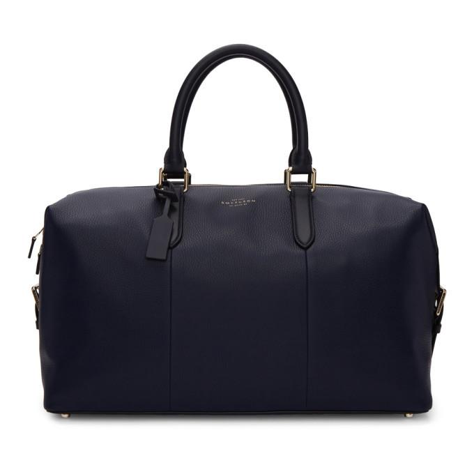 Smythson Navy Burlington Duffle Bag