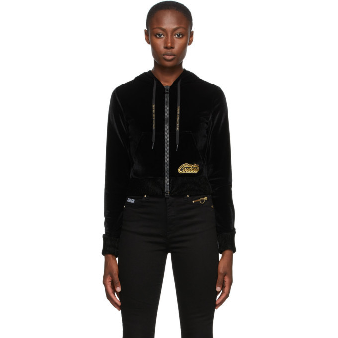 Photo: Versace Jeans Couture Black Velvet Zip-Up Hoodie