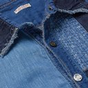 KAPITAL - Distressed Patchwork Linen and Cotton-Blend Chambray Shirt - Blue