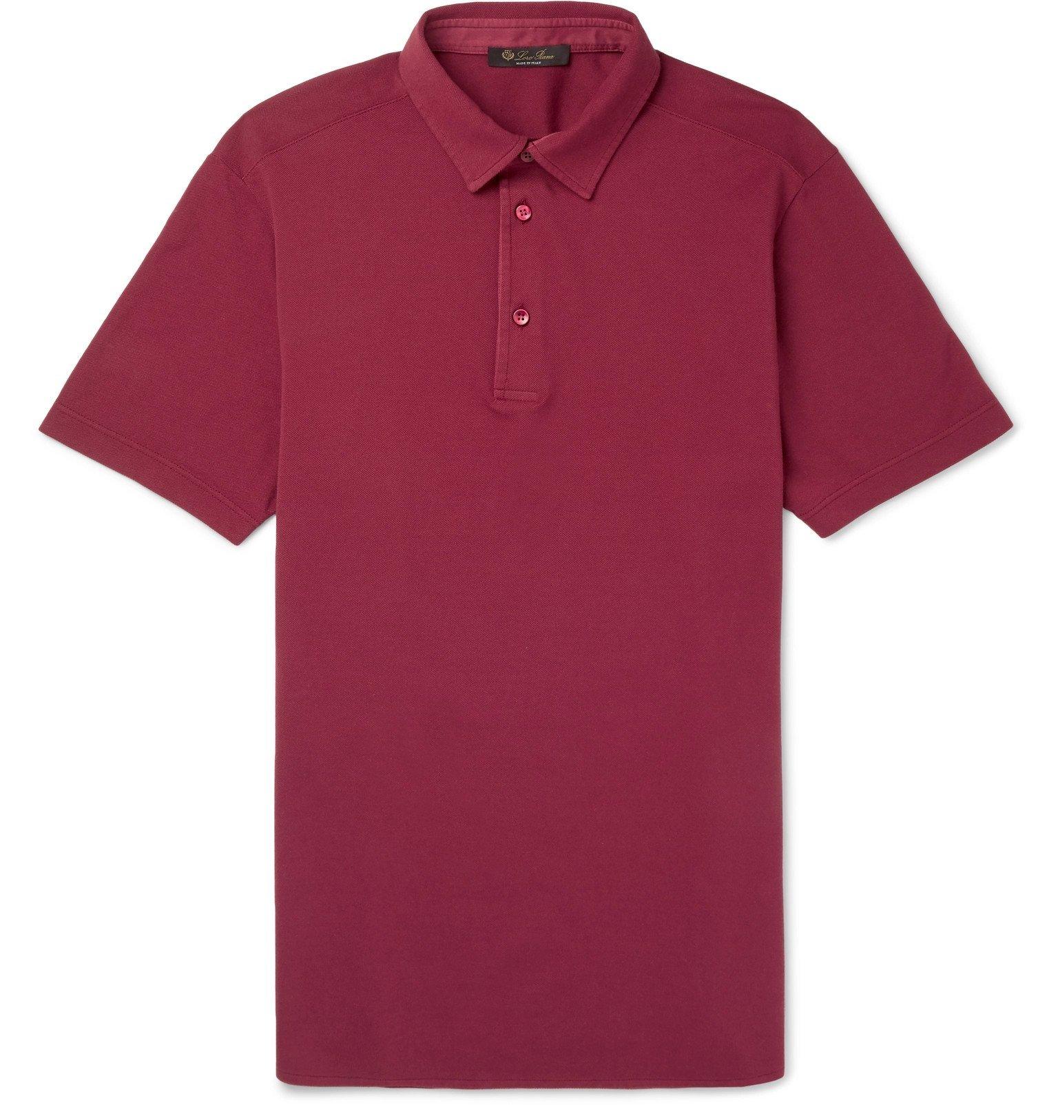 Photo: Loro Piana - Cotton-Piqué Polo Shirt - Red