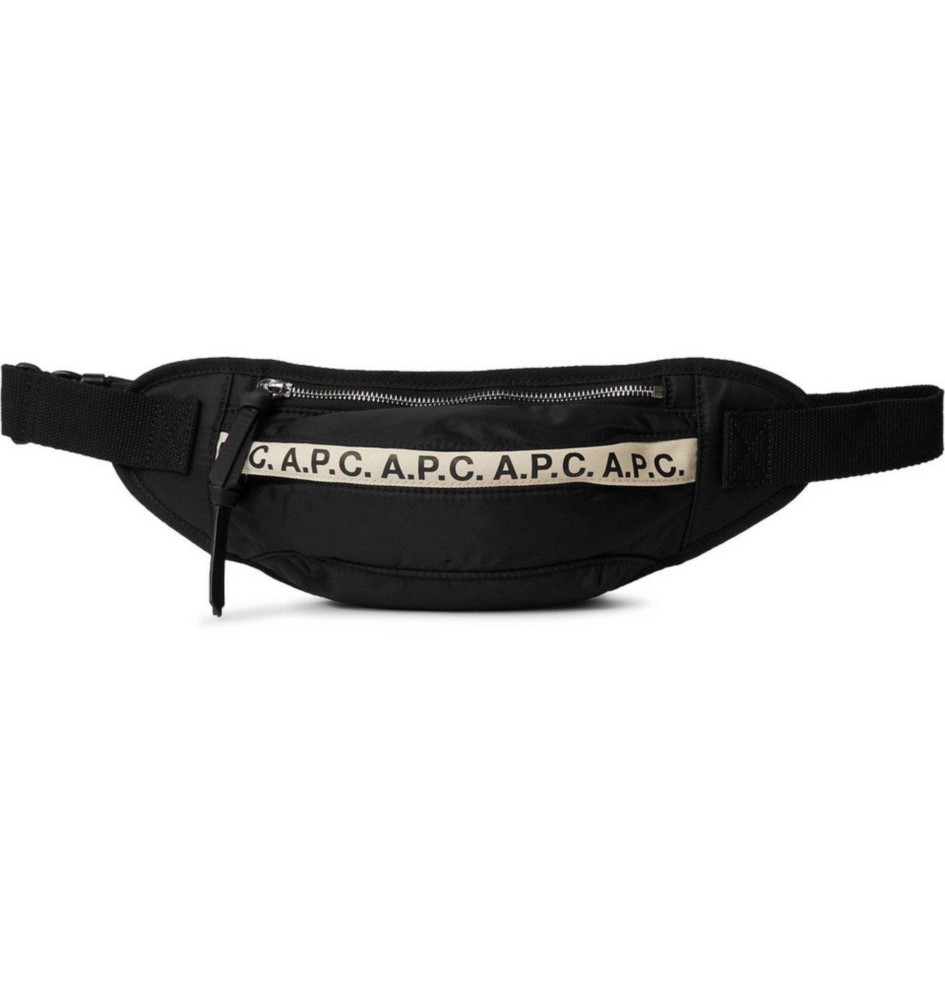 Photo: A.P.C. - Logo-Print Tape-Trimmed Tech-Canvas Belt Bag - Black